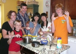 McGinty Family with Japanese students making rice balls