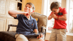 Jacob Sukin, 11 (left), and his brother Eli, 8, both suffer from genetic disorders. While doctors were able to determine that Jacob has Angelman syndrome, they couldn't determine the cause of Eli's developmental delays.