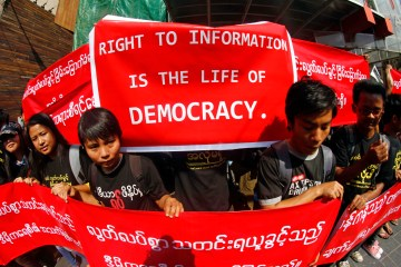 Myanmar Journalist Protest