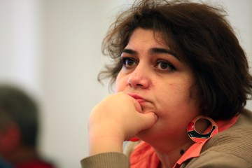 Khadija Ismayilova in March, 2014 in the Azeri capital Baku.  (AP Photo/Aziz Karimov)
