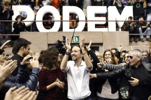 Pablo Iglesias, secretary general of Spain's Podemos, pictured in Catalonia Dec. 21, 2014. (EPA/Alejandro Garcia)