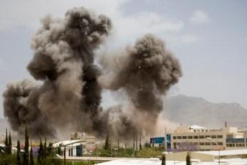 Smoke billows from a Saudi-led airstrike in Sana'a, Yemen, April 8, 2015.  (AP Photo/Hani Mohammed)