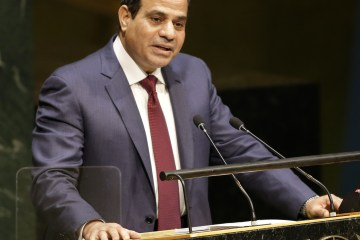 Abdel Fattah Al-Sisi, President of Egypt, speaks during the 69th session of the United Nations General Assembly at U.N. headquarters,  Sept. 24, 2014. (AP Photo/Seth Wenig)
