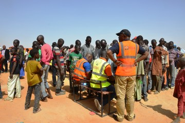 Nigerian refugees returning from the Republic of Niger are registered at the National Emergency Management Agency (NEMA) transit camp in Geidam, Yobe, Nigeria 13 May 2015. The Nigerian refugees are returning after they fled to Niger following the onslaught of Islamic militant attacks by Boko Haram in northern Nigeria. NEMA has thus far registered a total of 11,449 Nigerian returnees from the Republic of Niger and transported aproximately 7,000 of them back to their homes in various Nigerian states.  EPA/STR