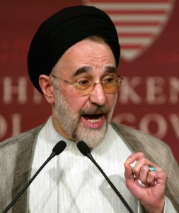 Former Iranian President Mohammad Khatami, pictured in 2006 in Cambridge, Mass. (AP Photo/Bizuayehu Tesfaye)