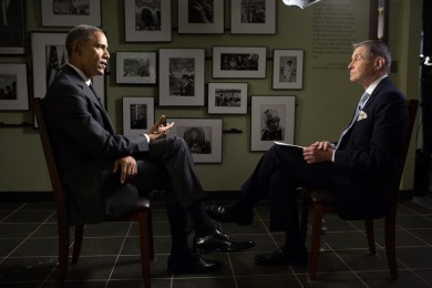 """CBS-TV reporter Bill Plante, who covered """"Bloody Sunday"""" 50 years ago, interviews the President at the museum. (Official White House Photo by Pete Souza)"""