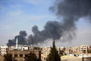 Smoke rises after Saudi-led airstrikes hit a site in Sanaa, Yemen, Jan. 30, 2016.  (AP Photo/Hani Mohammed)