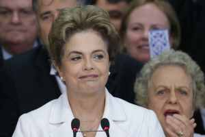 "Brazil's President Dilma Rousseff addresses the nation at Planalto presidential palace in Brasilia,  May 12, 2016. Speaking hours after the Senate voted to suspend her, Rousseff blasted the impeachment process against her as ""fraudulent"" and promised to fight what she characterized as an injustice more painful than the torture she endured under a past military dictatorship. (AP Photo/Eraldo Peres)"