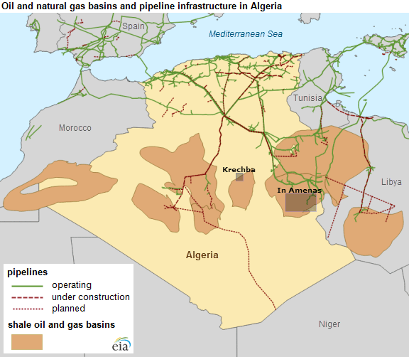 Source: EIA; Edited to demonstrate approximate locations of the In Amenas and Krechba attacks.