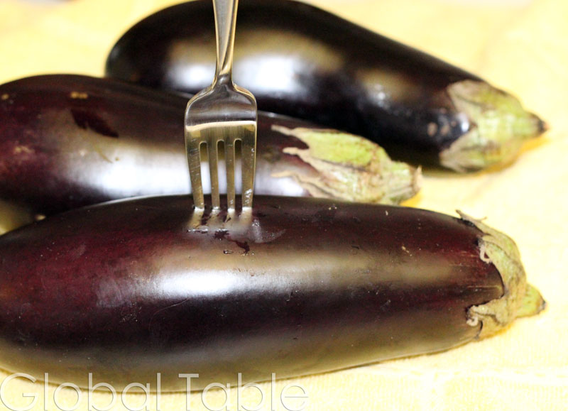 Poke holes all over the eggplants