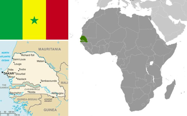 Maps and Flag of Senegal courtesy of CIA World Factbook.