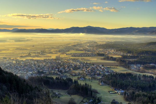 Šmarjetna gora, view towards Škofja Loka, Slovenia. Photo by Mihael Grmek.