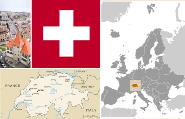 Maps and flag of Switzerland, plus photo of the Mudac Museum for Contemporary Applied Arts in Lausanne. All courtesy of the CIA World Factbook.