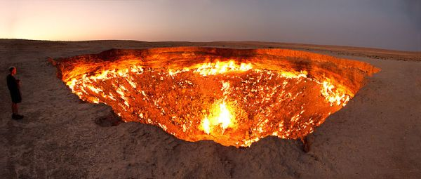 The Door to Hell, a burning natural gas field in Derweze. Photo by Tormod Sandtorv.
