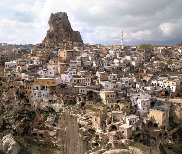 Town of Ortahisar in Cappadocia, a region in central Turkey. Photo by Brocken Inaglory.