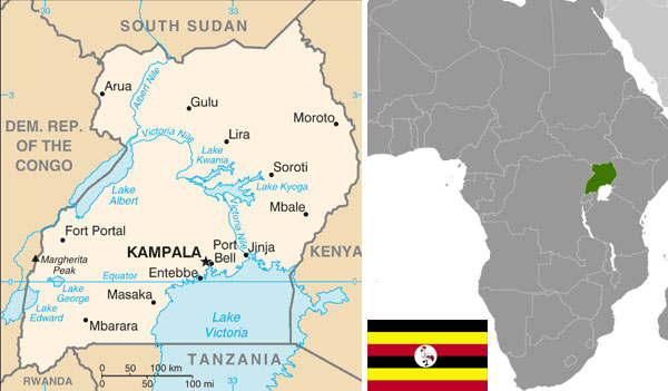 Maps and flag of Uganda courtesy of the CIA World Factbook.
