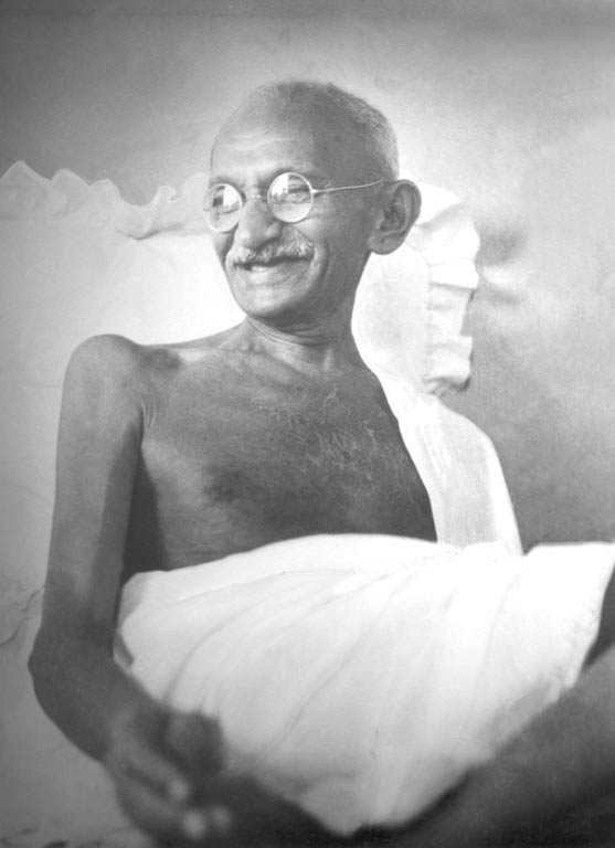 Gandhi smiling at Birla House, Mumbai, August 1942. (Photographer unknown).