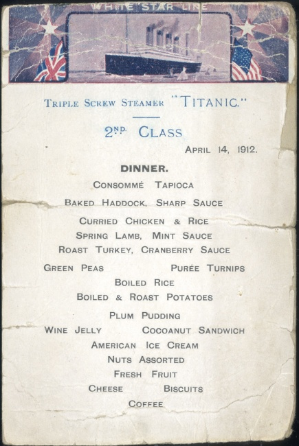Sample 2nd Class menu from the Titanic.