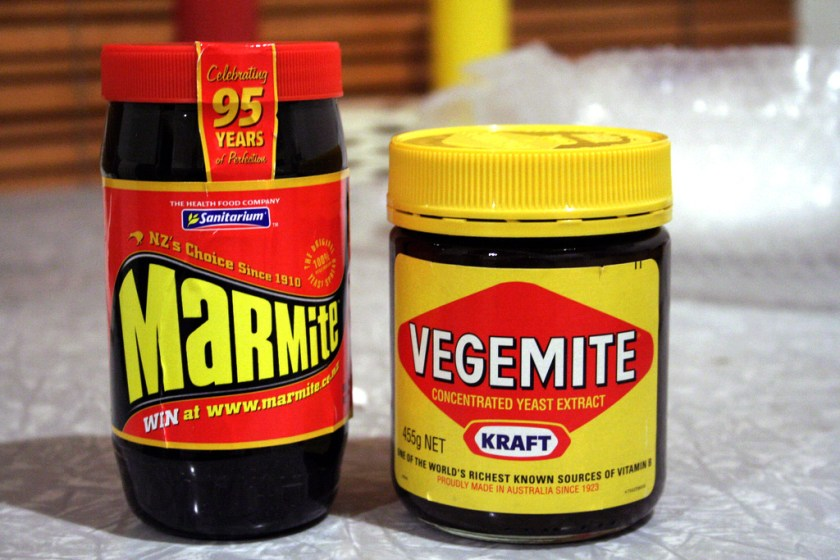 """Vegemite and Marmite"" by AZAdam / AdamOriginal uploader was Scharks at en.wikipedia.Later version(s) were uploaded by Vanderdecken at en.wikipedia. - http://www.flickr.com/photos/38074672@N00/53574980Transferred from en.wikipedia. Licensed under CC BY-SA 2.0 via Wikimedia Commons - https://commons.wikimedia.org/wiki/File:Vegemite_and_Marmite.jpg#/media/File:Vegemite_and_Marmite.jpg"