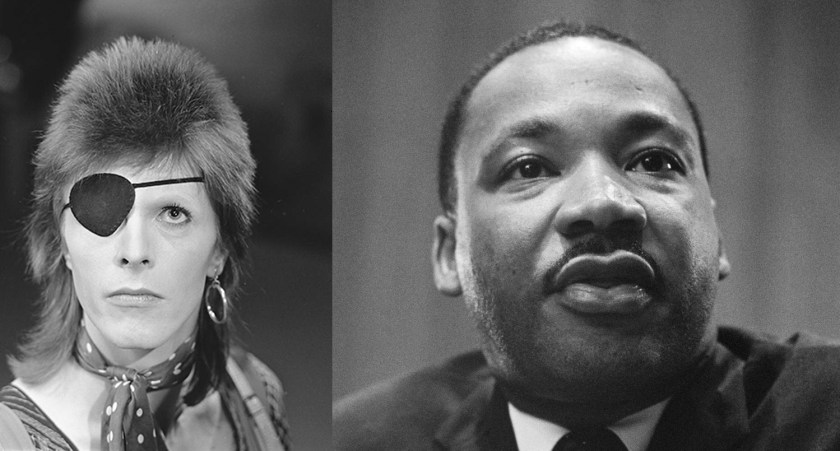 David Bowie by Avro. Martin Luther King by Marion S. Trikosko.