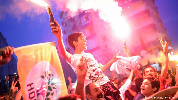 Supporters of the Leftist HDP party celebrating the party making it to the Turkish parliament. (Source: ROARmag)