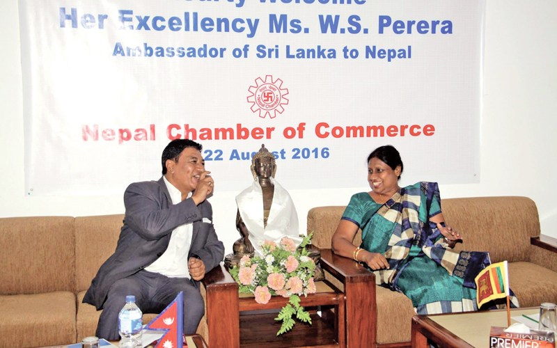 Nepal Chamber of Commerce President Rajesh Kazi Shrestha in the meeting with Sri Lankan Ambassador to Nepal W S Perera, in Kathmandu, on Monday, August 22, 2016. During the meeting, various dimensions of trade and economic cooperation between the two countries were discussed.Photo courtesy: NCC