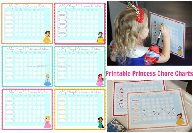 Printable Princess Chore Charts