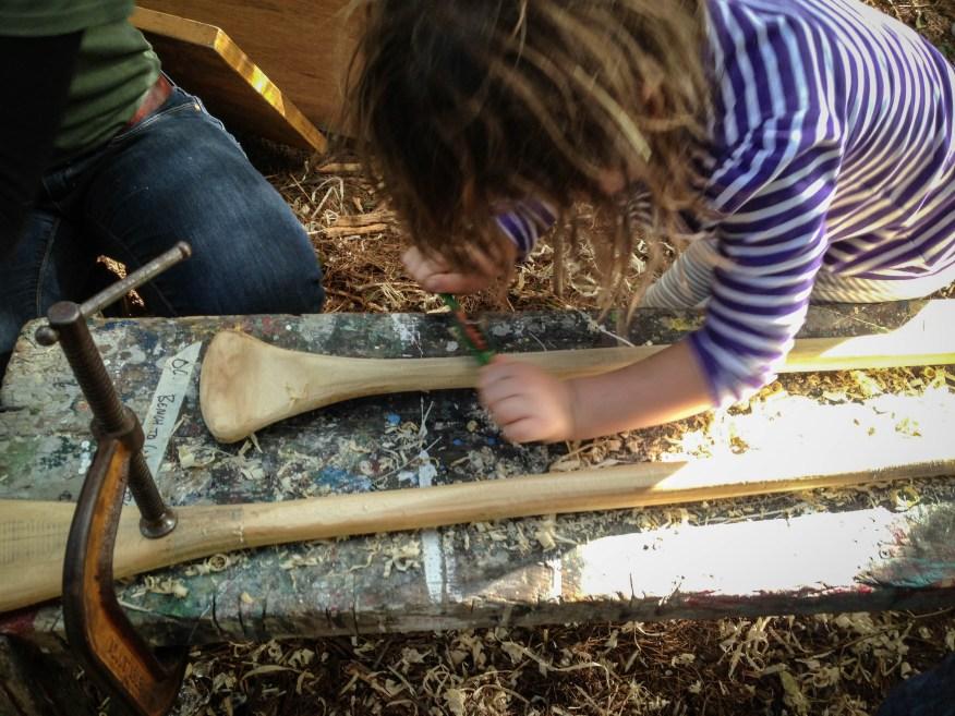 Maine- planing the canoe paddle