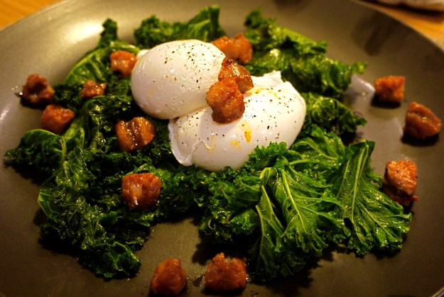 kale and poached egg