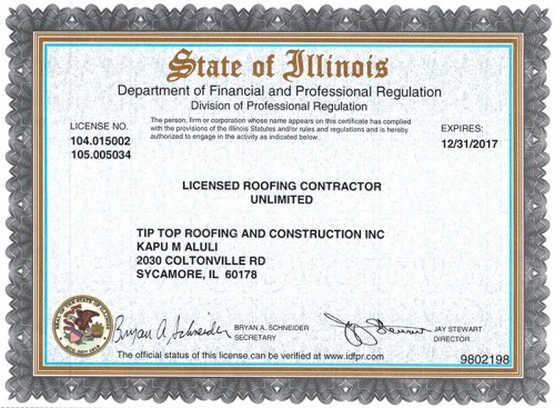 Tip Top Roofing & Construction, Inc. - Roofing License