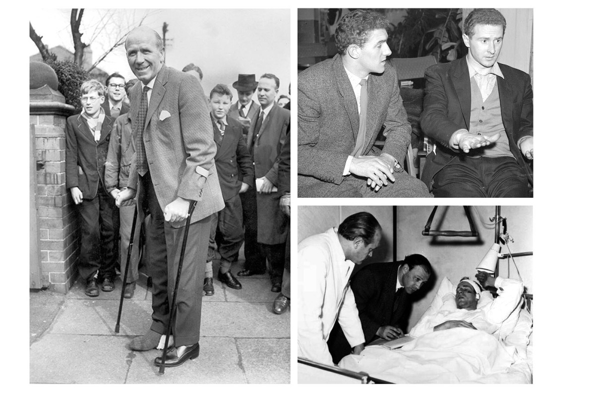 Left: Manchester United manager Matt Busby smiles as he arrives in Manchester today from Munich. Top Right: Survivors Foulkes and Harry Gregg talk to journalists after the Munich air disaster. Bottom Right: Sir Bobby Charlton being treated.