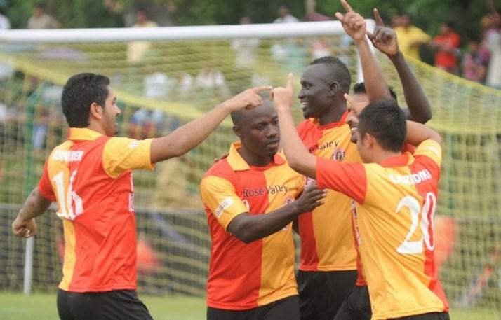 East Bengal celebrate a goal