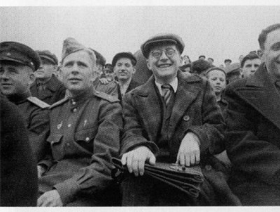 A rare photograph showing Dmitri Shostakovich – an eminent figure of 20th century music, who was also an ardent football fan -- enjoying the beautiful game in Leningrad