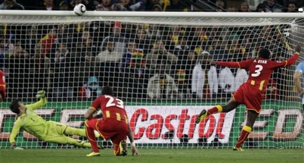 Gyan misses an extra-time penalty against Uruguay