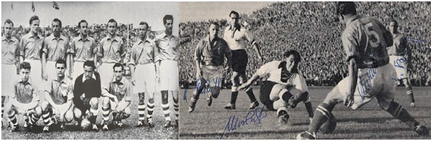 Left: The Saarland National team in 1950. Right: Germany vs. The Saarland in 1953 in Stuttgart
