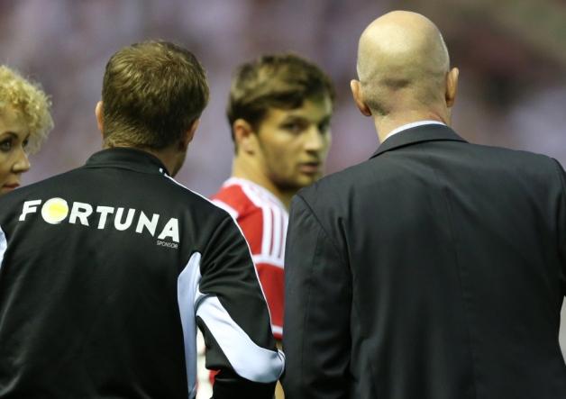 Legia substitute Bartosz Bereszynski entering the field of play against Celtic.