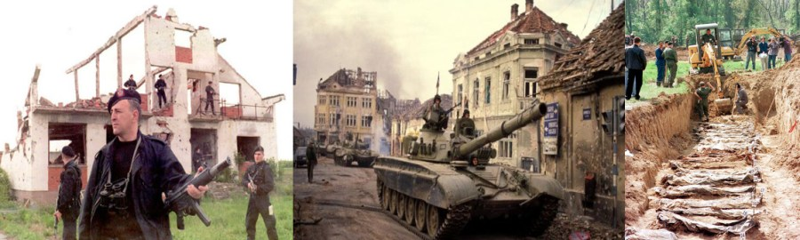 Photo-session of Arkan and his Tigers(tumbler.com),Serbian tanks entering Vukovar after capturing the city(irishtimes.com),Mass grave of the victims of Vukovar Hospital Massacre in Ovcara (dailymail.co.uk) [Left to Right]