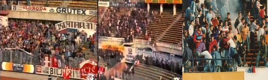 Delije ultras were tearing apart hoarding and trying to break the gates(msnbc.com),now they had entered into the upper tier. delije ultras are beating Dinamo Zagreb fans in the stand(casualultra.com)[Left to Right]