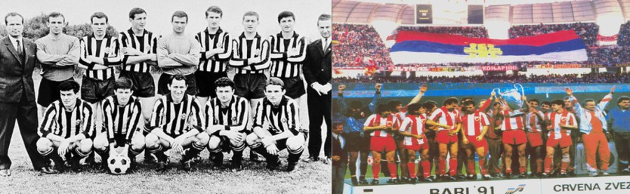 Runner-up Partizan Belgrade team of European Cup in 65-66 season(serbiatouristguide.com),90-91 season's European Cup winner team of Red Star Belgrade at Italy's Bari. One very significant thing is that 60 meter long flag which was actually not a Yugoslavian flag but a Serbian flag(pes-patch.com) (Left to Right)
