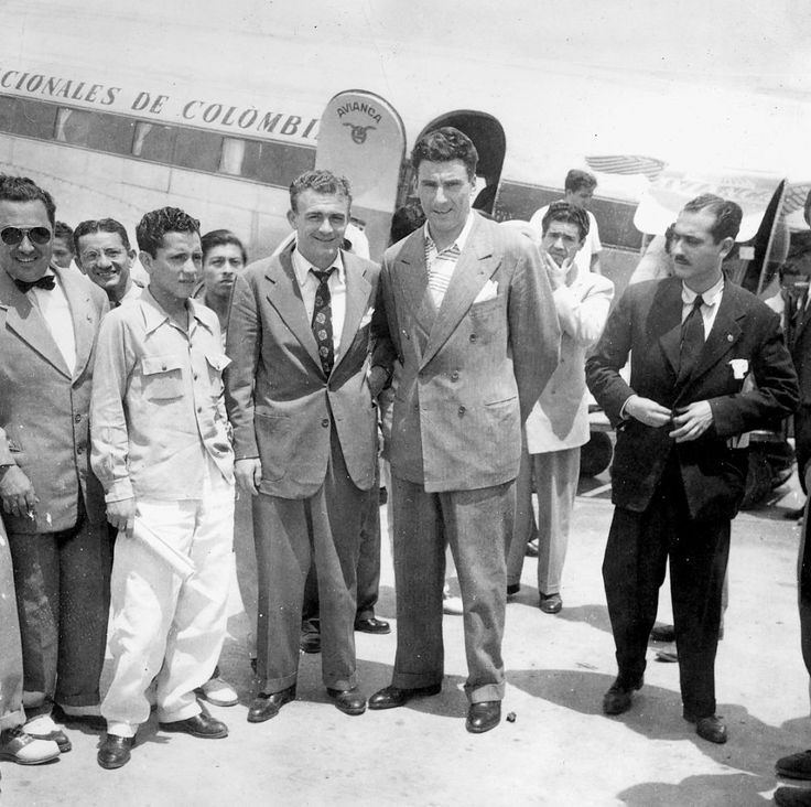 Alfredo Di Stéfano on his arrival in Colombia to play with Millonarios de Bogotá/
