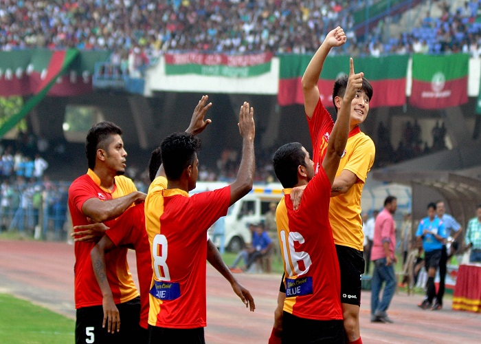 Kolkata: East Bengal player Dong Hyun Do celebrates after scoring a goal during a CFL League match against Mohun Bagan A.C. in Kolkata, on Sep 6, 2015. East Bengal won. Score 4-0. (Photo: Kuntal Chakrabarty/IANS)