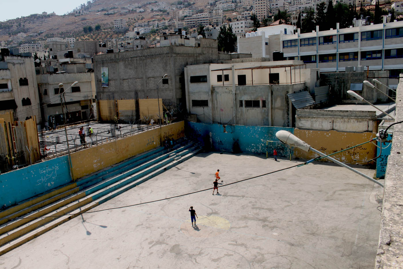 If you try and go behind the houses in Balata camp occasionally you will find a football pitch squeezed between the houses. The only proper place to play football in Balata Camp.
