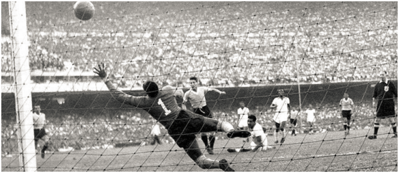 "Uruguay equalizes through Juan Alberto ""Pepe"" Schiaffino in the 1950 World Cup"