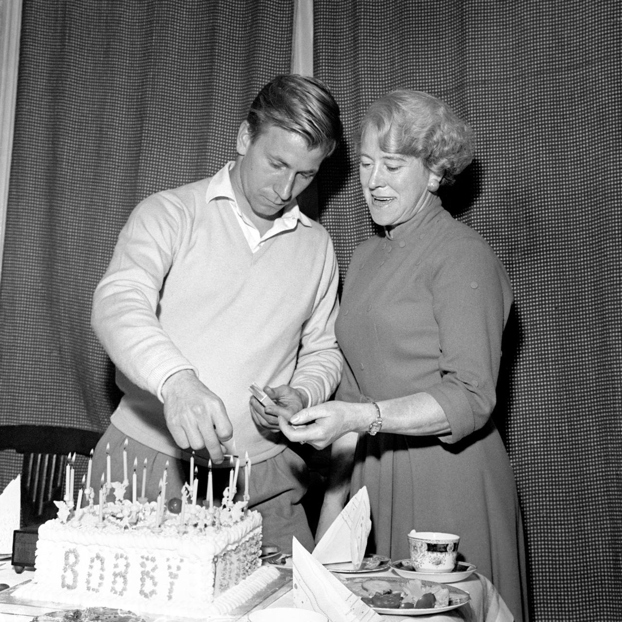 Bobby Charlton and his mum, celebrating his 21st birthday