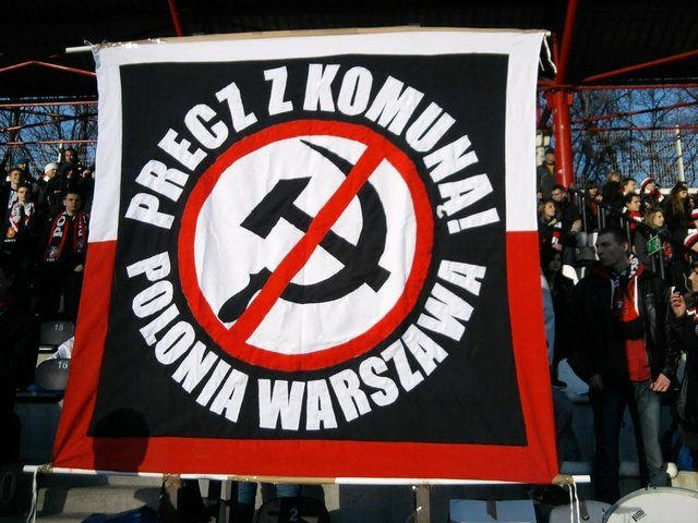 Polonia fans demonstrating anti-communism banner