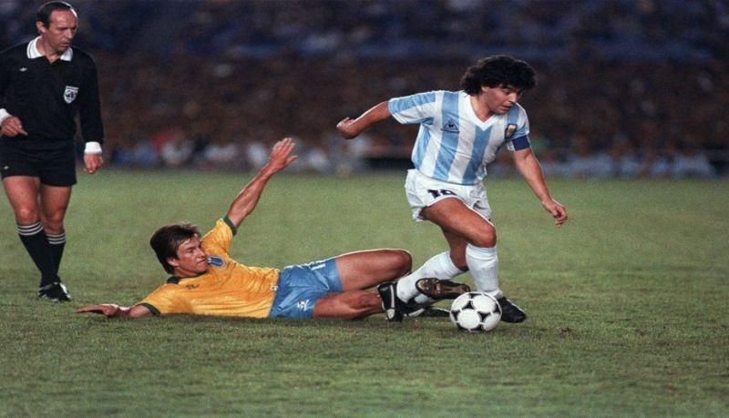 Carlos Dunga tackling Diego Maradona in the 1989 Copa America