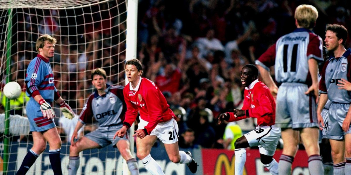 26th May 1999: Ole Gunnar Solskjaer of Manchester United scores an injury time winner in the UEFA Champions League Final against Bayern Munich at the Nou Camp in Barcelona, Spain. United won 2-1. Mandatory Credit: Phil Cole /Allsport