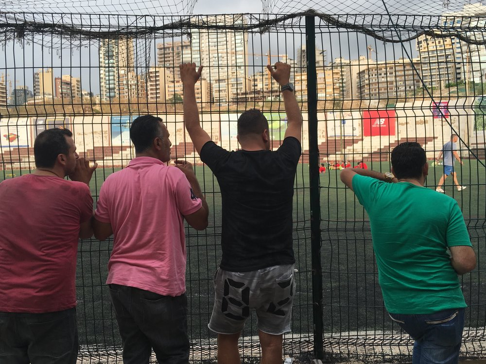 Nejmeh is only in preseason but that doesn't stop the local ultras from attending training. Fans discuss the squad and get acquainted with the new foreign players. Photo by Justin Salhani.