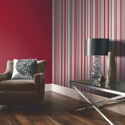 Arthouse Sophia Stripe Wallpaper in Red