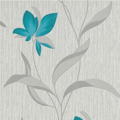 Erismann Fleur Glitter Wallpaper - Teal and Silver